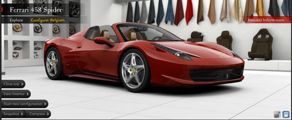 Ferrari 458 Spider configurator