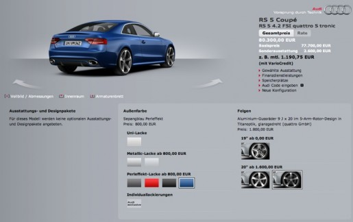 Audi RS5 Configurator