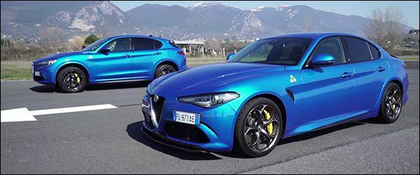 Video: Alfa Romeo Giulia Quadrifoglio vs Alfa Romeo Stelvio Quadrifoglio