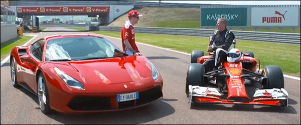 Video: Ferrari F14T vs Ferrari 488 [Kimi Raikkonen vs Martin Brundle]