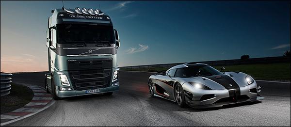 Video: Volvo FH vs Koenigsegg One:1