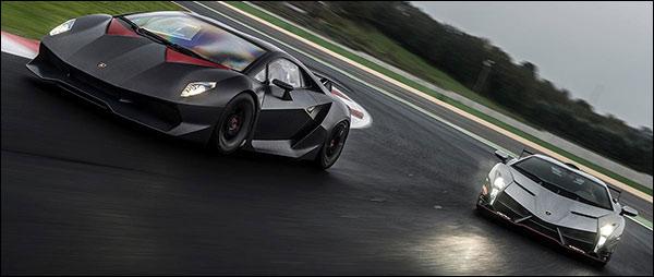 Lamborghini Veneno & Sesto Elemento spelen op het circuit